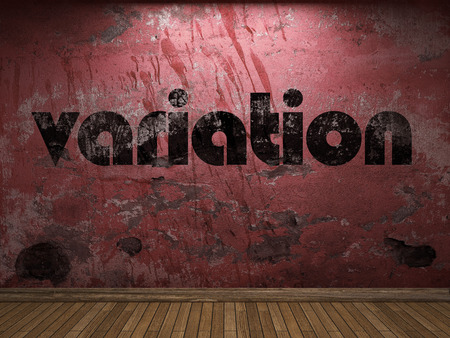 variation: variation word on red wall Stock Photo