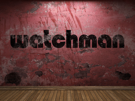 a watchman: watchman word on red wall Stock Photo
