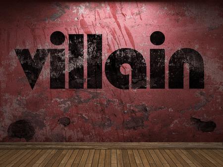 villain: villain word on red wall Stock Photo