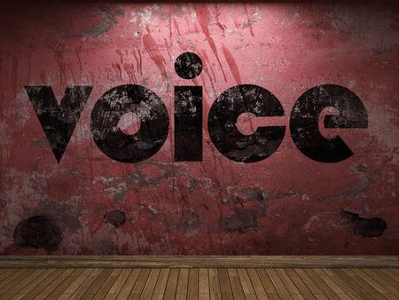 Palabra de voz en la pared roja Foto de archivo