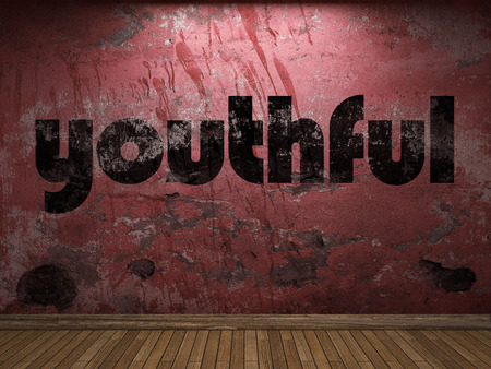 youthful: youthful word on red wall