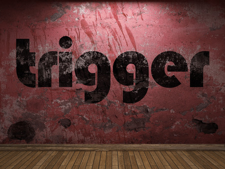 trigger: trigger word on red wall