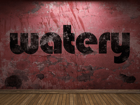 watery: watery word on red wall