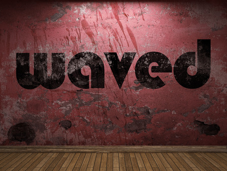 waved: waved word on red wall