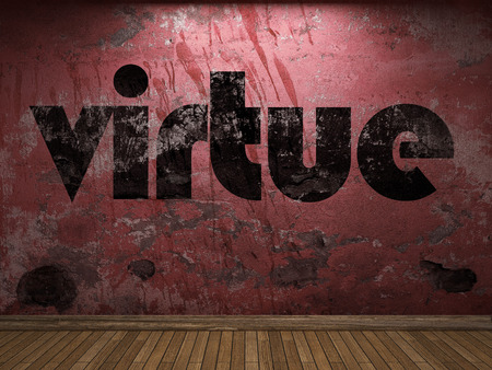 by virtue: virtue word on red wall Stock Photo
