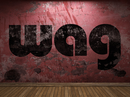 wag: wag word on red wall