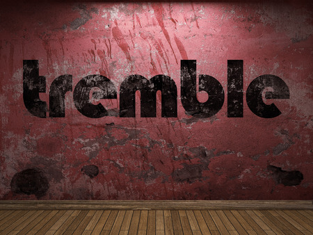 tremble: tremble word on red wall Stock Photo
