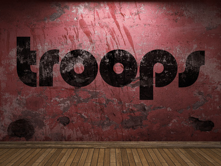 troops: troops word on red wall Stock Photo