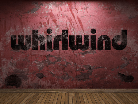 whirlwind: whirlwind word on red wall Stock Photo