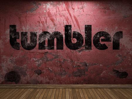 tumbler: tumbler word on red wall