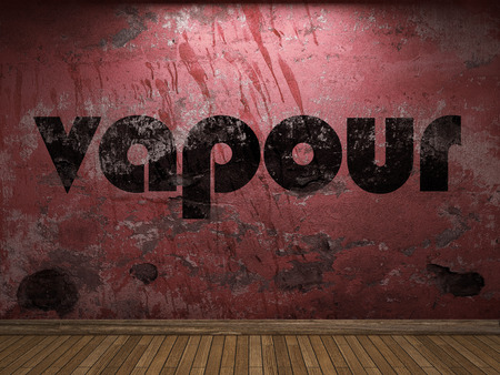 vapour: vapour word on red wall Stock Photo