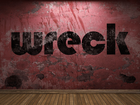 wreck: wreck word on red wall Stock Photo
