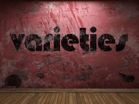 varieties: varieties word on red wall Stock Photo