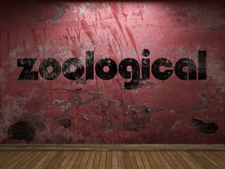 zoological: zoological word on red wall