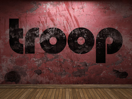 troop: troop word on red wall