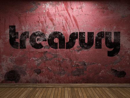 treasury word on red wall