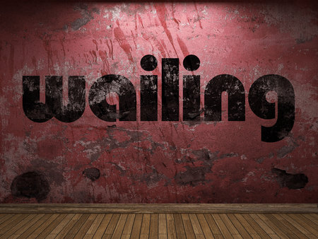 wailing: wailing word on red wall Stock Photo