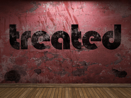 treated: treated word on red wall