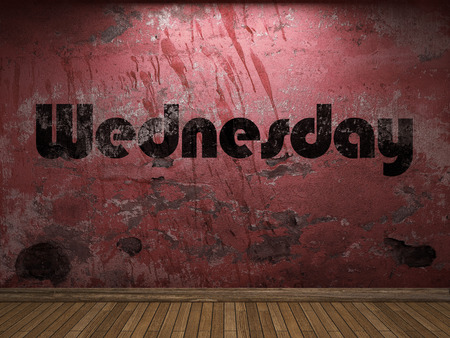 wednesday: Wednesday word on red wall Stock Photo