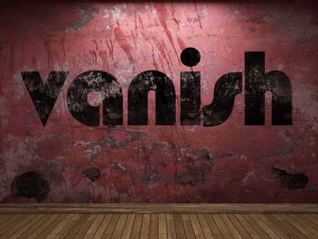 vanish: vanish word on red wall Stock Photo