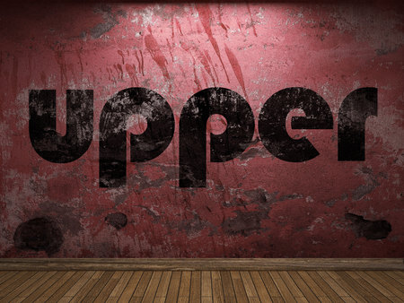 upper: upper word on red wall Stock Photo
