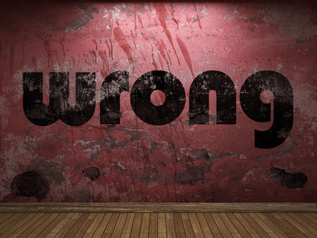 wrong: wrong word on red wall Stock Photo