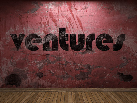 ventures: ventures word on red wall Stock Photo