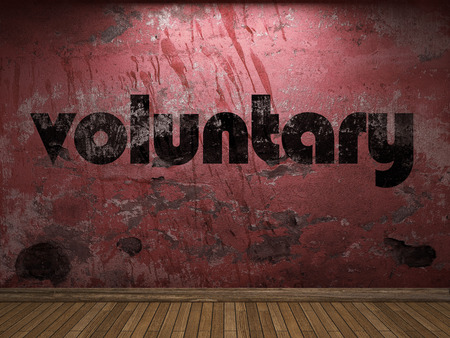 voluntary: voluntary word on red wall Stock Photo