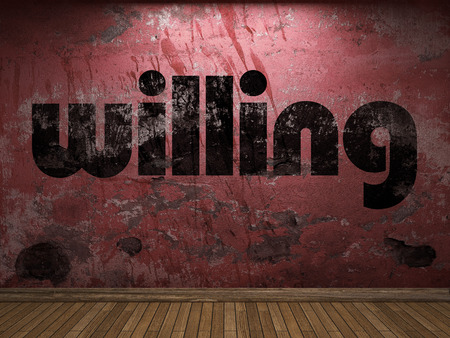willing: willing word on red wall Stock Photo