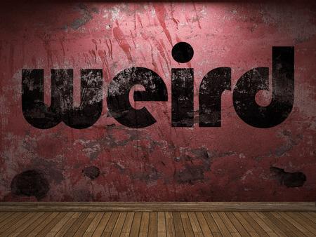 weird: weird word on red wall