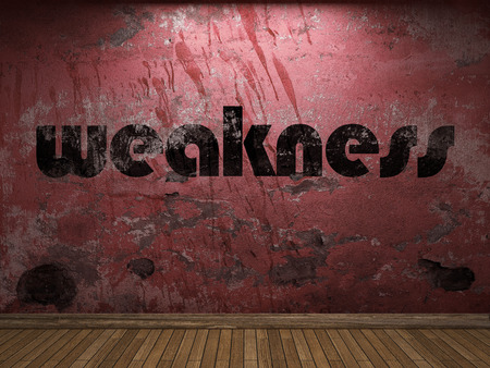 weakness: weakness word on red wall