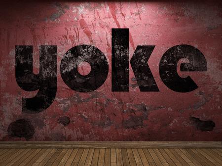 yoke: yoke word on red wall Stock Photo