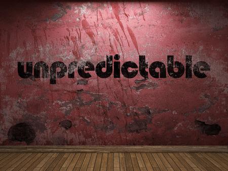 unpredictable: unpredictable word on red wall Stock Photo