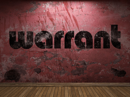 warrant: warrant word on red wall Stock Photo