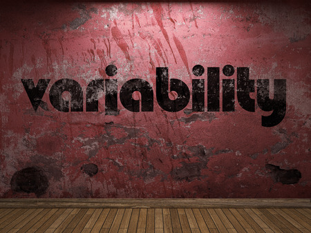 variability: variability word on red wall
