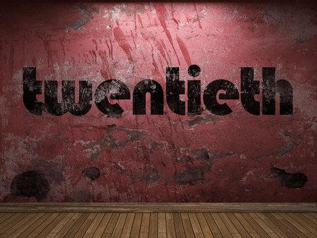 twentieth: twentieth word on red wall Stock Photo