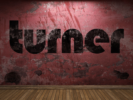 turner: turner word on red wall Stock Photo