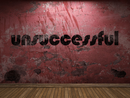 unsuccessful: unsuccessful word on red wall Stock Photo