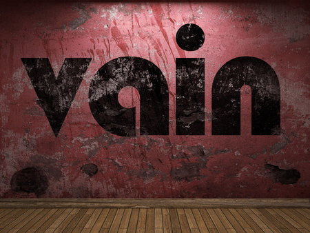 vain: vain word on red wall