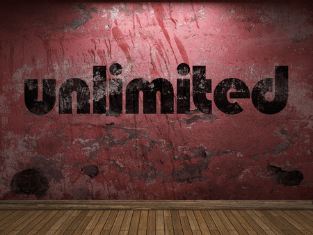unlimited: unlimited word on red wall