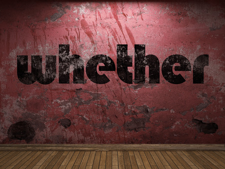whether: whether word on red wall