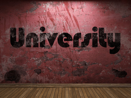 university word: University word on red wall