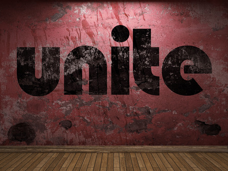 unite: unite word on red wall