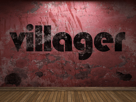 villager: villager word on red wall