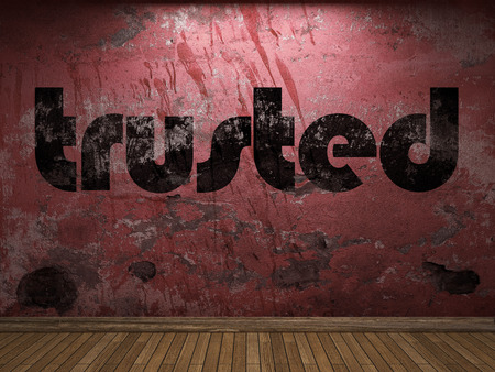 trusted: trusted word on red wall