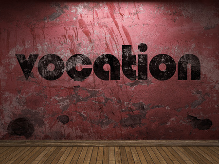 vocation: vocation word on red wall Stock Photo