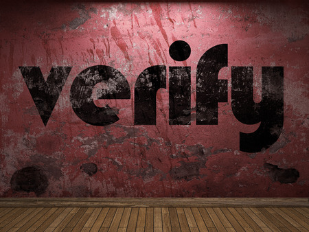 verify: verify word on red wall