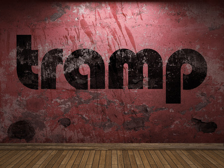 tramp: tramp word on red wall Stock Photo