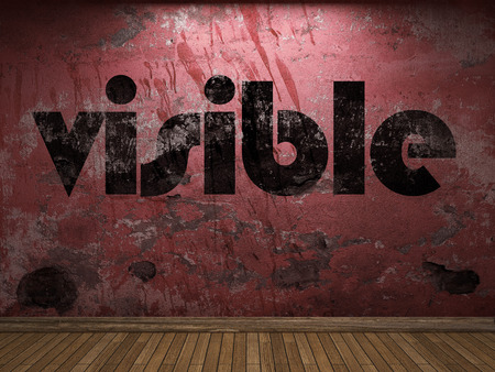 visible: visible word on red wall Stock Photo