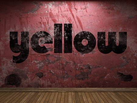 yellow tacks: yellow word on red wall